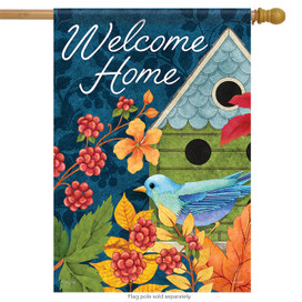Birdhouse & Berries Welcome Spring House Flag