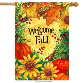 Welcome Fall Floral House Flag