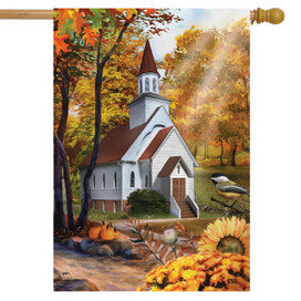 Autumn Church Sunset House Flag