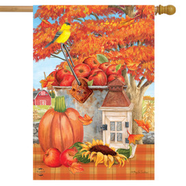 Apple Picking Fall House Flag