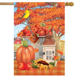 Apple Picking Fall House Flag