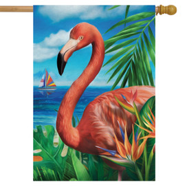Flamingo Paradise Summer House Flag