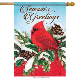 Festive Feathers Christmas Cardinal House Flag