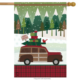 Christmas Wagon Primitive House Flag