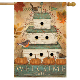 Welcome Fall Birdhouse Primitive House Flag