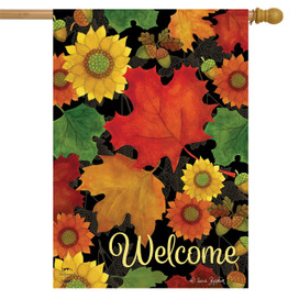 Fall Foliage Welcome House Flag