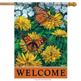 Sunny Monarchs Spring House Flag