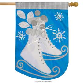 Ice Skates Applique House Flag