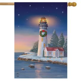 Christmas Lighthouse Nautical House Flag