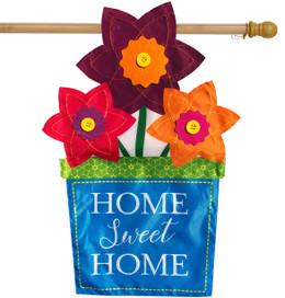 Flower Pot Applique Spring House Flag