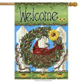 Welcome Nest Fall Wreath House Flag