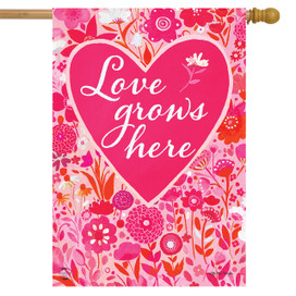 Love Grows Here Valentine's Day House Flag