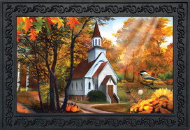 Autumn Church Sunset Doormat