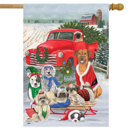 Holiday Dogs Christmas House Flag