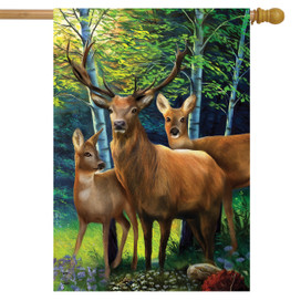 Deer Family House Flag