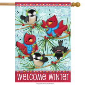 Winter Songbirds Primitive Humor House Flag
