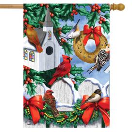 Christmas Birdhouse House Flag