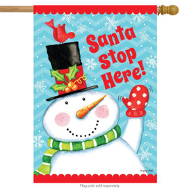 Santa Stop Here Christmas House Flag