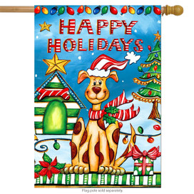 Happy Holidays Dog House Flag