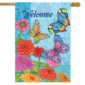 Butterflies in the Garden Welcome House Flag