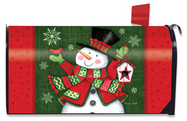 Snowman and Birdhouse Winter Mailbox Cover
