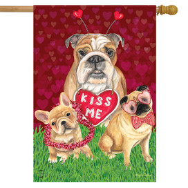 Puppy Love Valentine's Day House Flag