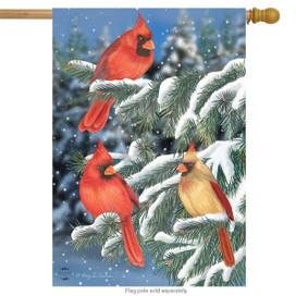 Winter Cardinal Trio House Flag
