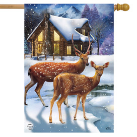 Winter Cabin Deer House Flag