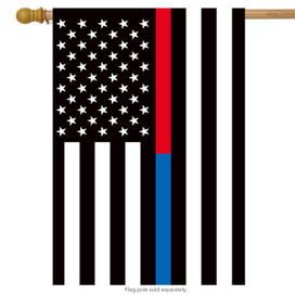Thin Blue & Red Line House Flag