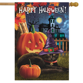 Black Cat Halloween Hat House Flag