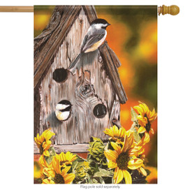 Autumn Chickadees Birdhouse House Flag
