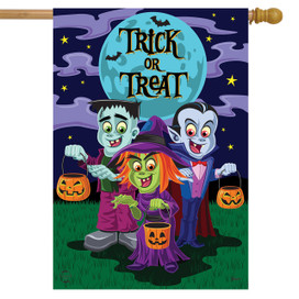 Trick or Treaters Halloween House Flag