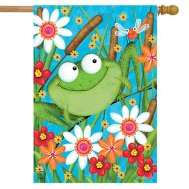 Froggy Fun Summer House Flag