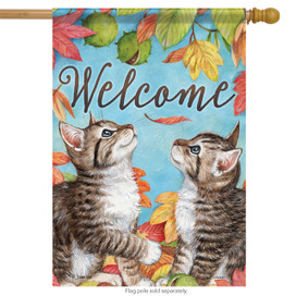Playful Kittens Welcome Fall House Flag