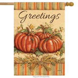 Fall Greetings Pumpkins House Flag