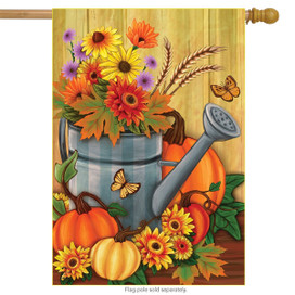 Fall Watering Can Pumpkin House Flag