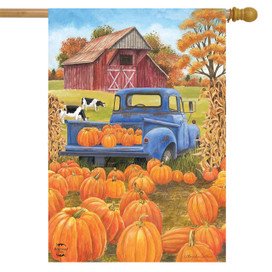 Pumpkin Patch Pickup Autumn House Flag