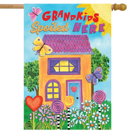 Grandkids Spoiled Here Floral House Flag