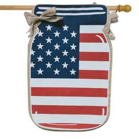 Patriotic Mason Jar Burlap House Flag