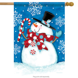 Happy Snow Guy Winter House Flag