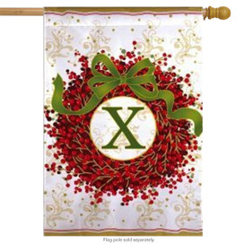 Holiday Monogram Wreath X Christmas House Flag