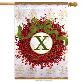 Holiday Monogram Wreath X Christmas House Flag