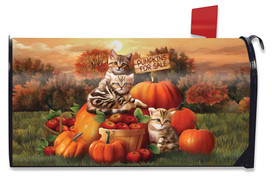 Fall Kittens Pumpkins Mailbox Cover