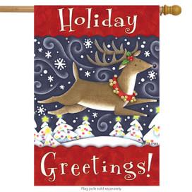 Holiday Greetings Christmas House Flag