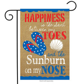 Summer Happiness Nautical Burlap Garden Flag