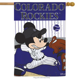 Colorado Rockies MLB Mickey Mouse Baseball House Flag
