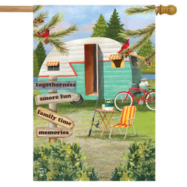 Woodsy Camper Summer House Flag