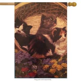 Kitten in a Basket Spring House Flag