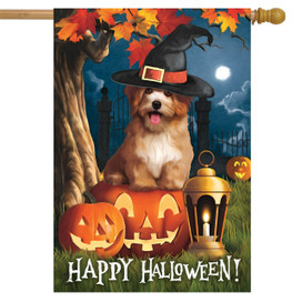 Halloween Dog Scene House Flag