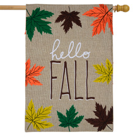 Hello Fall Leaves Burlap House Flag
